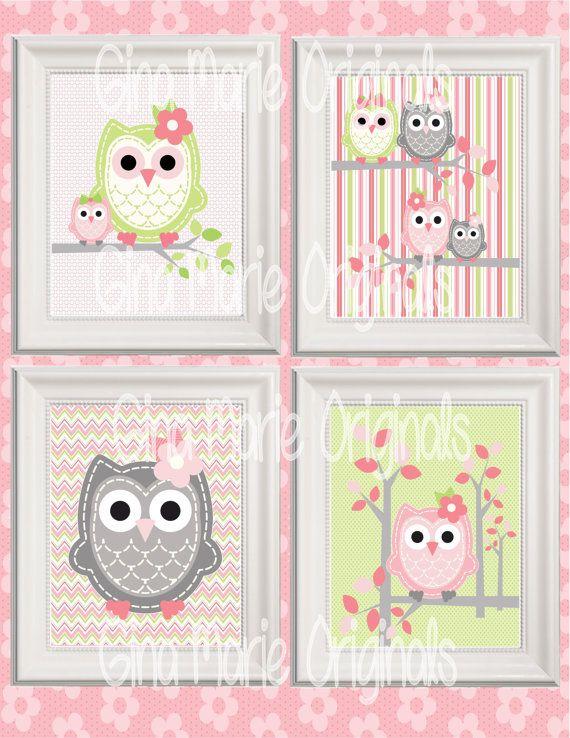 Printable Nursery Wall Art Pink Green Grey Owls