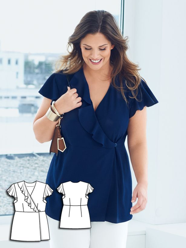 Add ruffle and button closure to a wrap top