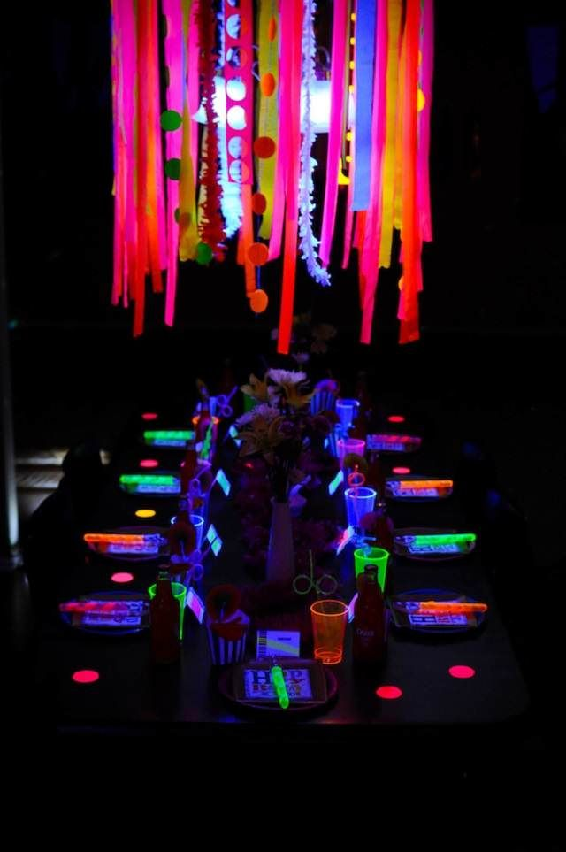 Idea Brillante Decoracion Para Cumpleanos De Colores Neon Fiesta