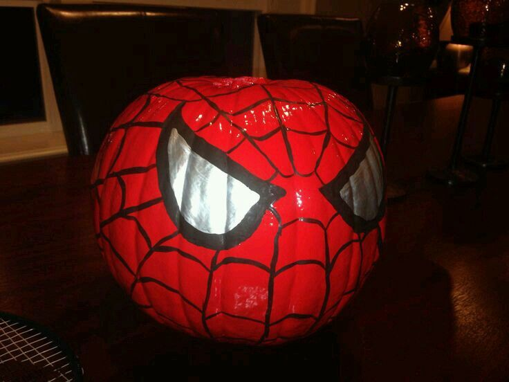 Spiderman pumpkin Calabaza de spiderman