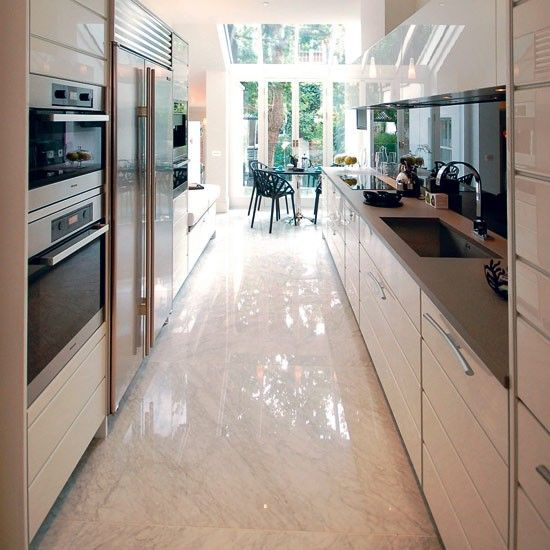 This galley kitchen houses all appliances very well and makes a focus of the light filled dining area at the end. http://www.housetohome.co.uk/room-idea/picture/galley-kitchens-14-of-the-best/9