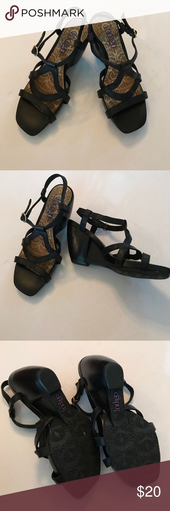 Indigo black leather wedges Excellent condition and very comfortable Indigo Shoes Wedges