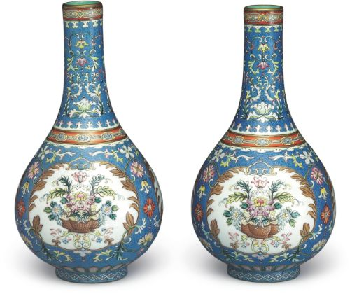 Pair of gall-bladder vases in yangcai enamels with incised blue ground pattern of flower brocade and band decor, marks and period of Qianlong    © Collection of National Palace Museum, Taipei