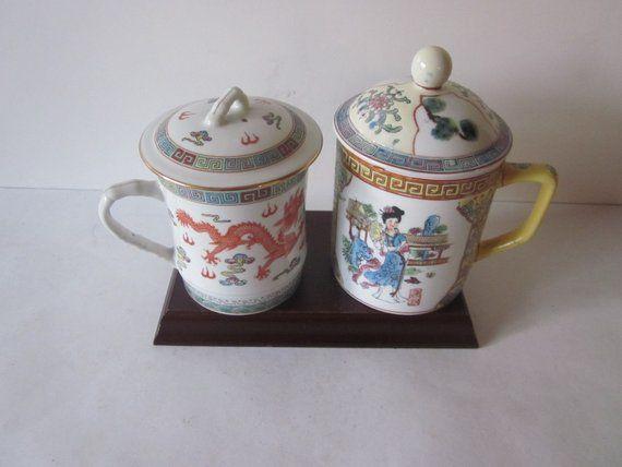 Antique Chinese Porcelain Tea Mugs