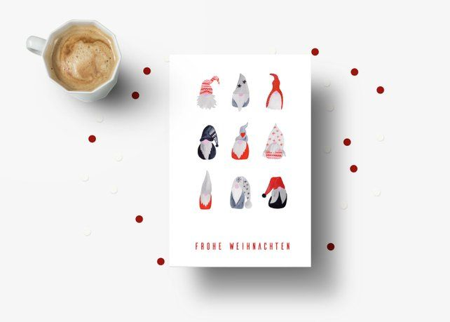 Christbaumkugeln Cappuccino.Christmas Cards Set Elf Christmas Baubles Stockings Greeting