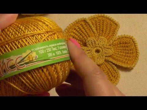 Видео-урок. Цветок крючком в технике тунисского вязания. Ирландское круж...