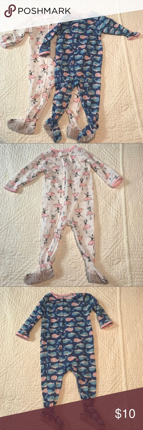 Baby Girl Pajama Bundle Two 12M PJ onesies from Carters, ballerina print & whale print both in good pre-owned condition. Carter's Pajamas Pajama Sets