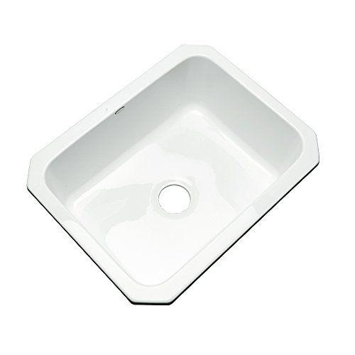 """Dekor Sinks 32000UM Princeton Single Bowl Undermount Cast Acrylic Kitchen Sink, 25"""", White"""