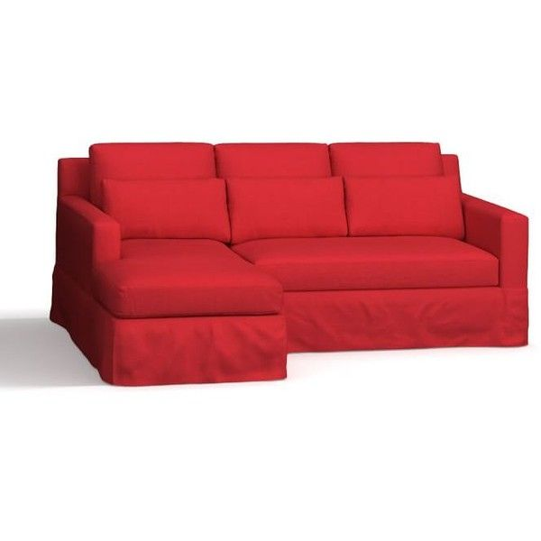 york slope arm slipcovered deep seat right chaise sofa sectional down blend wrapped cushions basketweave slub red