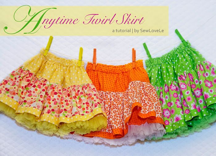 Twirl Skirt in the colors of summer: lemon, orange, and lime. Sewlovele: Anytime Twirl Skirt Tutorial.