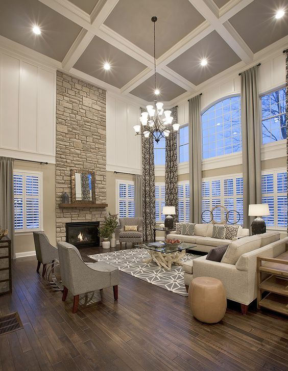 home additions neutral living room with high coffered ceiling - Family Room Living Room
