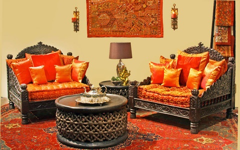 Traditional indian living room carved sofas rich for Indian ethnic living room designs
