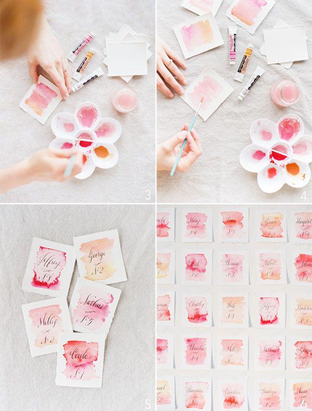 DIY Watercolor Escort Cards