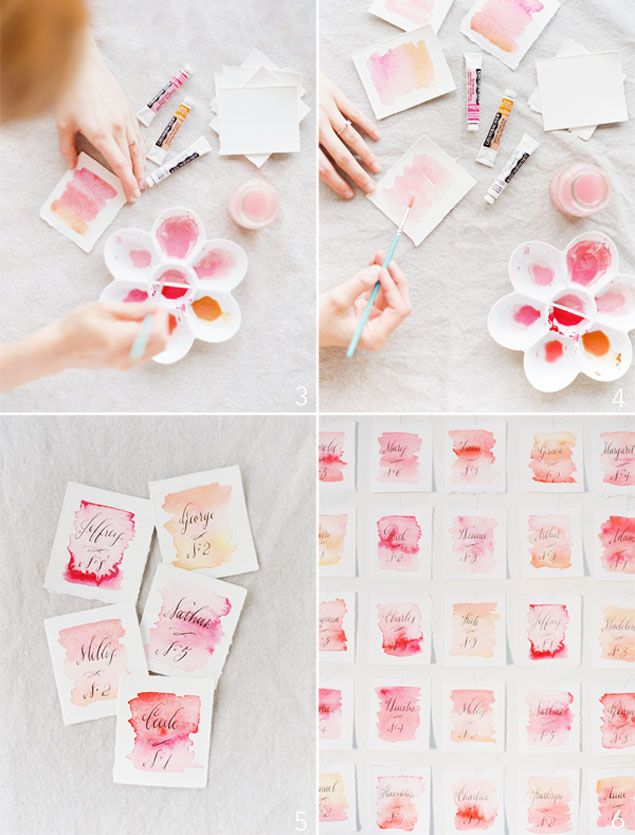 DIY Watercolor Escort Cards