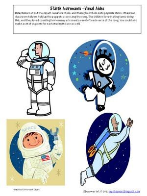 "Here is a cute song, ""5 Little Astronauts"", with directions and a free printable to make puppets to go along with it."