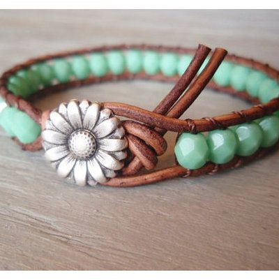 Pinterest Handmade Gifts | Turquoise Bead and Leather Bracelet Tutorial