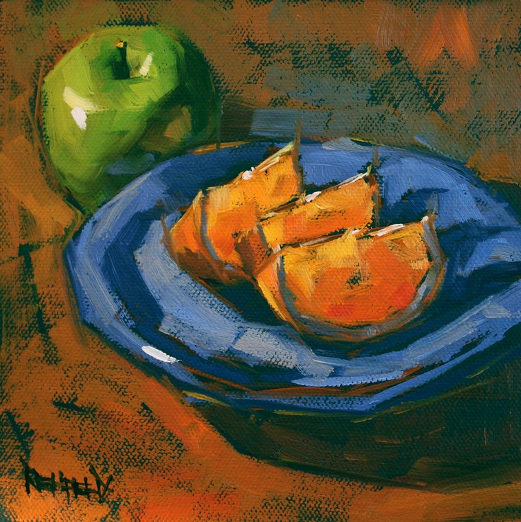 cathleen rehfeld • Daily Painting: Blue Plate and Oranges