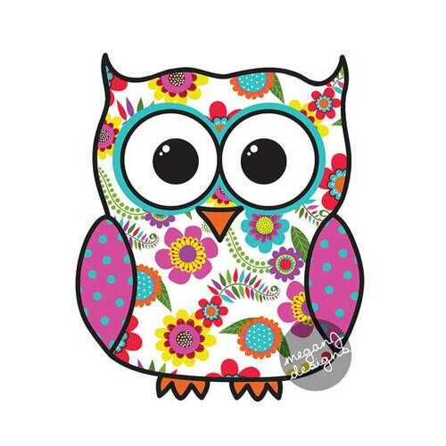 Colorful floral owl car decal sticker cute owl bumper sticker laptop decal pink yellow blue orange