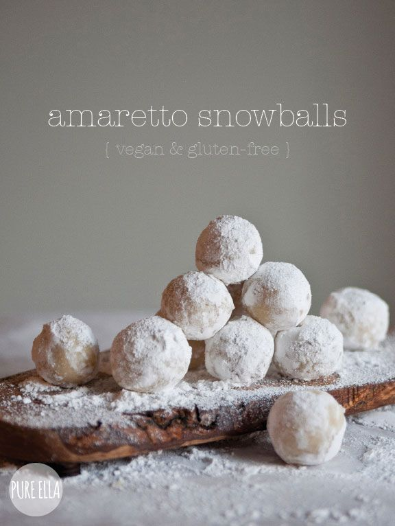 Amaretto Snowballs : ONLY 4 ingredients! gluten-free, vegan, paleo quick no-bake dessert | Pure Ella | www.pureella.com