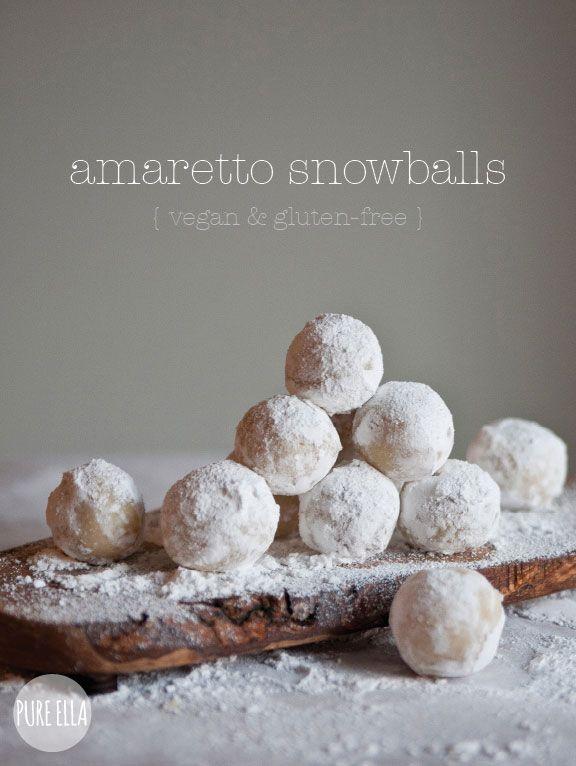 Amaretto Snowballs : gluten-free, vegan, quick no-bake dessert