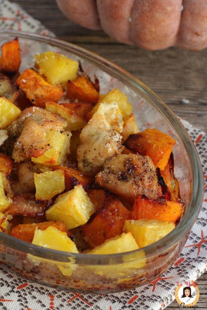 Ricetta del POLLO CON ZUCCA E PATATE cotto al forno. Secondo piatto facile e veloce con pollo e zucca. Per bambini. Piatto autunnale gratinato con zucca