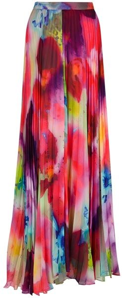 Alice & Olivia Pleated Maxi Skirt - love this fabric!