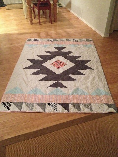 Aztec inspired quilt by TheLadyInThread, via Flickr