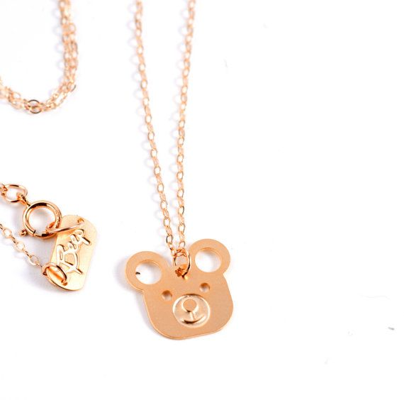 Teddy bear Necklace Gold Filled Necklace Icon Jewelry Design Chic Art Logo Necklace Beep Studio Jewelry Gold Plated Small Pendant Miniature