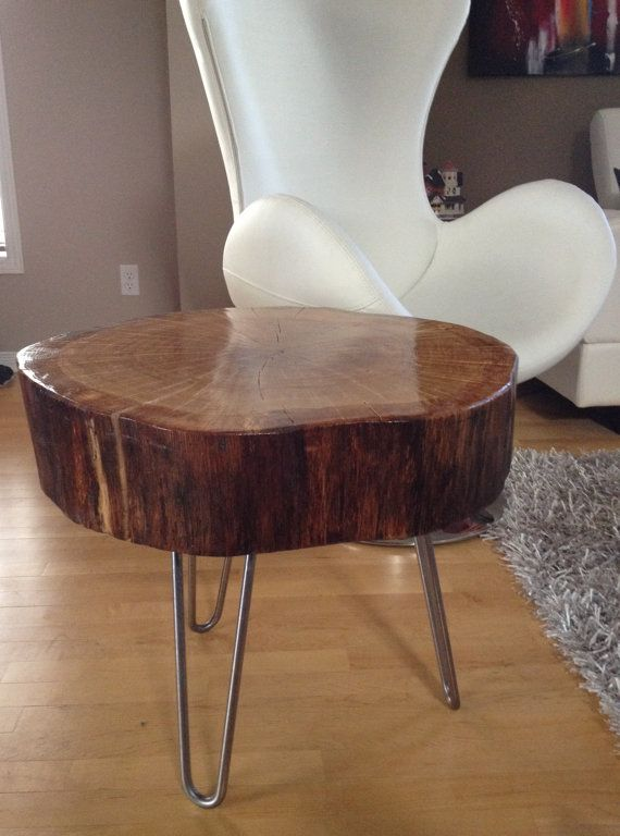 Stump Table With Hairpin Legs Reclaimed Coffee By