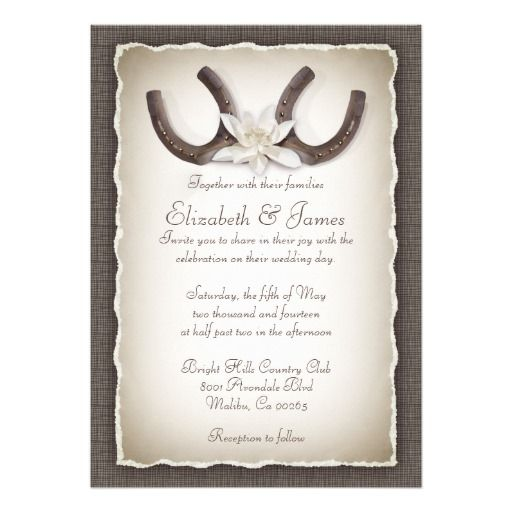 western wedding invitations! Rustic weddings, brown weddings, cowboy weddings, country weddings, horseshoes.  ♥ For more rustic wedding invitations see http://www.zazzle.com/rustic+wedding+invitations?rf=238252963030229232&tc=wpz  ♥