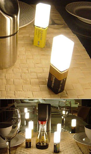 Battery Lights - A 9v Battery + a light bulb + designer Richard Lawson = A Richard Lawson designed 9v battery lamp of course. These things are so cool, simple, co...