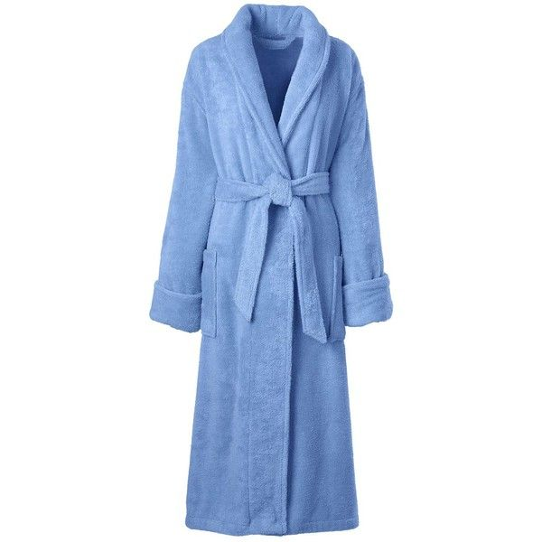 Lands' End Women's Petite Terry Robe ($65) ❤ liked on Polyvore featuring intimates, robes, blue, terry cloth bath robe, petite bathrobes, terrycloth robe, petite robes and terry cloth robe