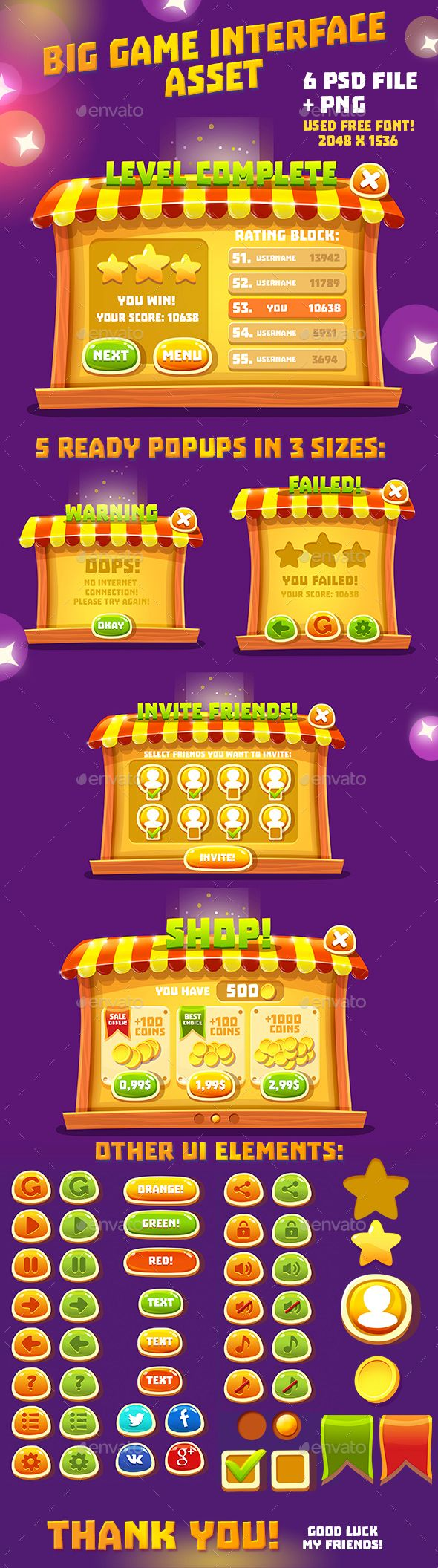 Fairytale Fair Cartoon GUI Asset - User Interfaces Game Assets
