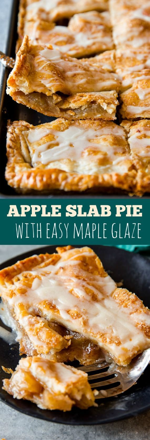 You'll never want to make a traditional pie again! This apple slab pie is a crowd-pleaser. Complete with maple icing-- full step-by-step recipe on sallysbakingaddic...