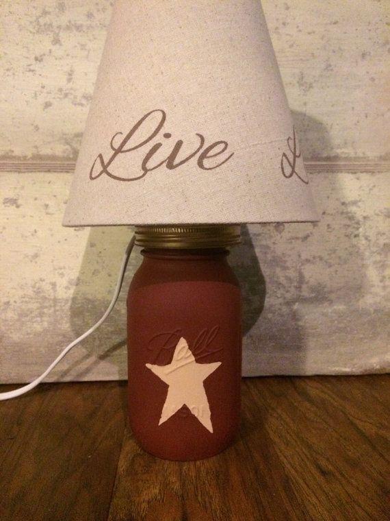 Country primitive mason jar lamp by ModernCountryCrafts on Etsy