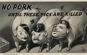 A propaganda poster from World War II depicting the leaders of the three Axis powers (Germany, Italy and Japan) as pigs.