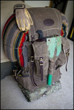 A traditional bushcrafting pack for a weekend.