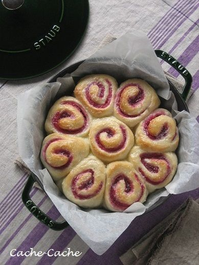 Cache-Cache+:staubブレイザーで 紫芋ジャムのくるくるちぎりパン♪