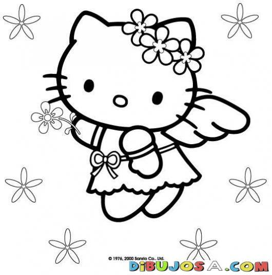 colorear hello kiti con diadema de flores | COLOREAR HELLO KITTY | Dibujo para pintar a la hello kitty con una diadema de floresitas | dibujosa.com