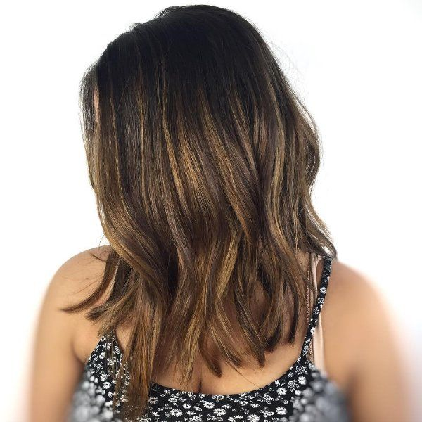 black hair with light brown highlights