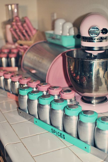 vintage rare Kromex long spice racks in pink and turquoise.