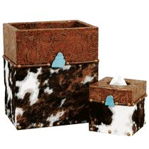 Cowhide and Turquoise Waste Basket and Tissue Box