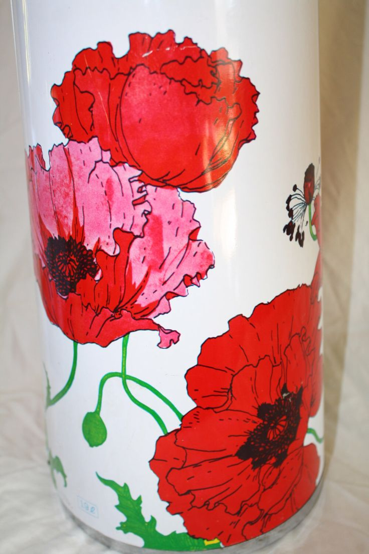 King Air Pot Coffee Thermos Pot Red Pink Poppy Flower Coffee Server Beverage Dispenser by NikkisFunFinds on Etsy https://www.etsy.com/listing/241129834/king-air-pot-coffee-thermos-pot-red-pink