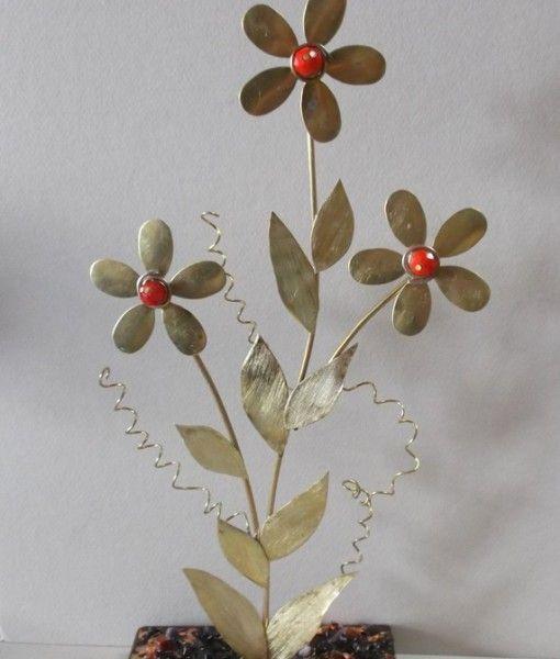 μπρουτζος κρυσταλλινες χαντρες φυλλα χαλκου  και χρυσου κορνεολη 30Χ16