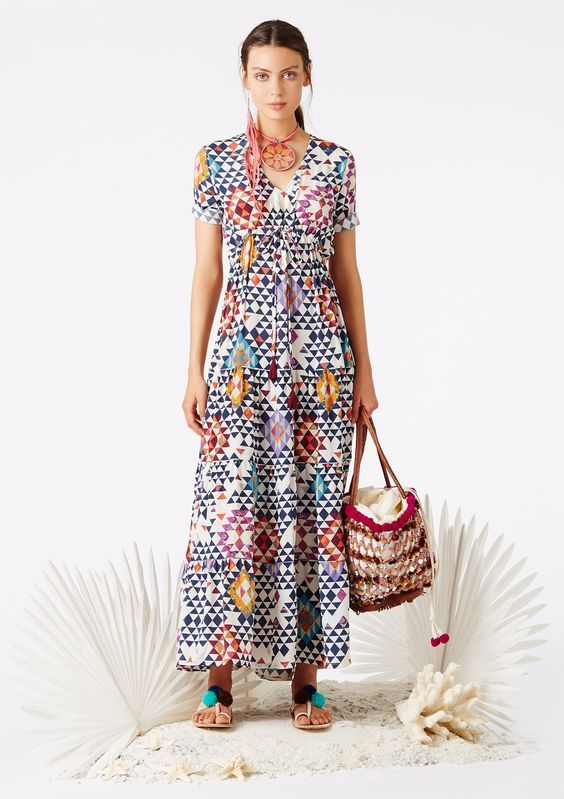 "<p>Silk v-neck multitiered dress in our Tahitian Kaleidoscope print featuring a cinched silk tassel tie waist.</p><p>Sizing: Fits true to size. Model wears size x-small. Model's height is 5'10""; bust 33""; waist 24""; hips 34.5""</p>   <li>Made in India</li> <li>100% Crepe de Chine</li>  <li>Dry clean</li>    <li>XXS: 0-2</li>  <li>XS: 2-4</li>  <li>S: 6-8</li>  <li>M: 8-10</li>  <li>L: 10-12</li>:"
