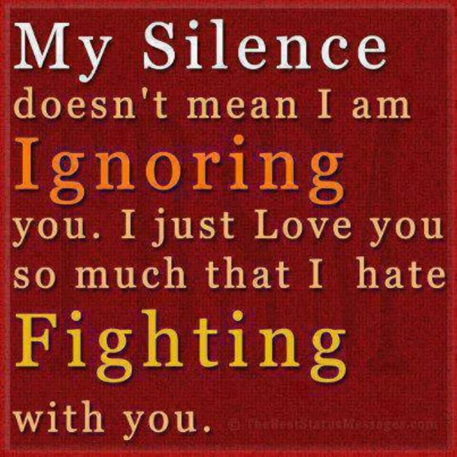 My Silence Doesn't Mean I Am Ignoring You. I Just Love You