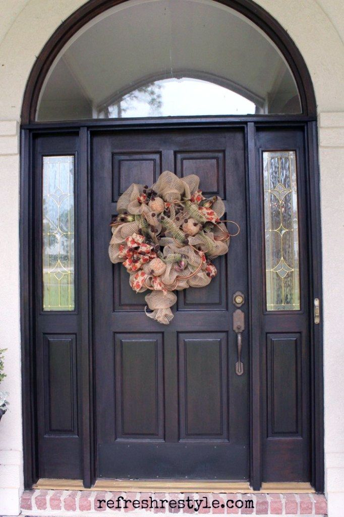 """Debbie of Refresh Restyle used GF Java Gel Stain to give her front door a face lift. Debbie says, """"It faces the west and the sun beats down on it really bad. I used General Finished Java Gel Stain and I loved it! I ended up putting two coats on. I love the wood door and it looks great now."""" See all the details of this project at http://refreshrestyle.com/stain-front-door/"""