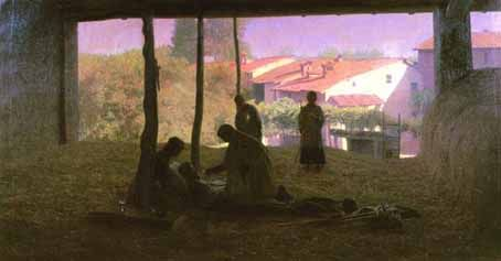 Pellizza da Volpedo, SUL FIENILE, 1893, olio su tela, cm. 133x243,5, collezione privata