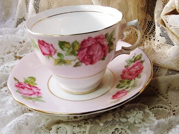 pretty vintage english colclough tea cup and saucer pink roses for bridal