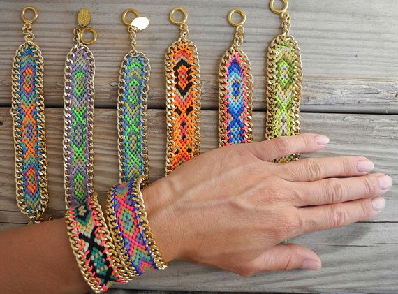 OOAK friendship bracelet in beautiful neon colors boarded with gold plated chain